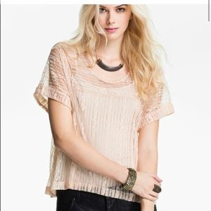 Free people ivory short sleeve lace top 1C132